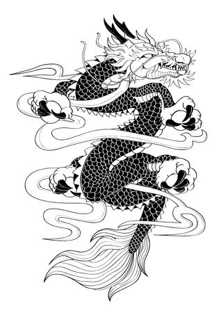 ベクトル イラスト グラフィック タトゥー日本スタイル ドラゴン カプリコーン  イラスト・ベクター素材