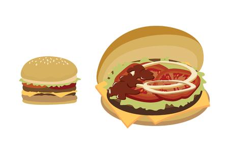 vector; illustration; Hamburger; food; burger