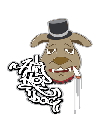 vector  illustration graphic cartoon dog hiphop