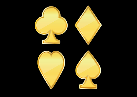vector illustration graphic background poker golden Clubs card hearts diamonds spades gold
