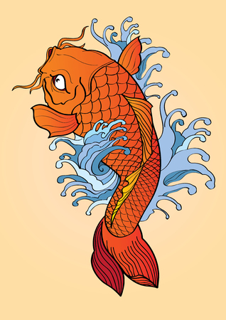 vector  illustration graphic background Koi fish Tattoo Japanese style Illustration