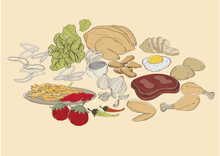 vector  illustration  Graphic Food ingredients French fries fried chicken Vegetable meat Barbecue Potato