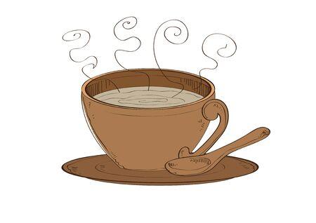 vector  illustration graphic coffee cup dish spoon breakfast ceramic Brown sorrel