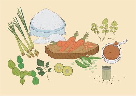vector  illustration graphic background spices spice seasoning carrot lemon pepper peas lemon grass coriander wheat flour dough Vegetable
