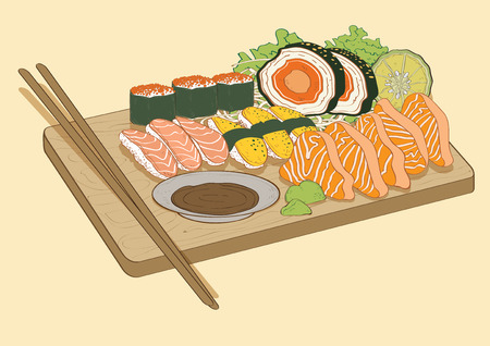 Illustration  Graphic background japan Japanese Food Sushi salmon fish shrimp chopsticks  sauce
