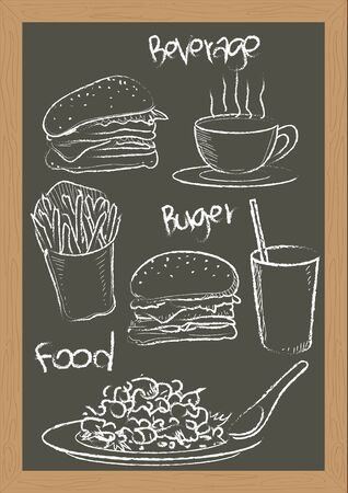 vector  illustration graphic background food French fries Burger blackboard handwriting Write beverage Hot coffee