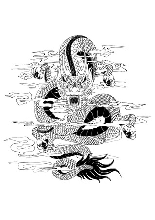 Vector illustration graphic   black dragon tattoo draw animal China Chinese Japanese Japan Ilustração