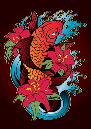 vector  illustration graphic background Koi fish Tattoo Japanese style color Aquatic