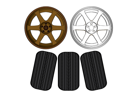 Vector illustration graphic background of wheel equipment. Car parts, propel, impel drive run.