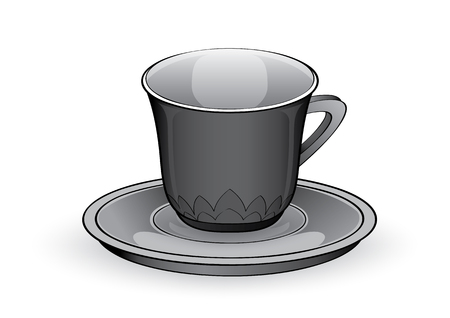 vector illustration graphic background glass coffee cup beaker tumbler saucer bottom plate dish drink equipment accessory