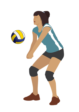 vector  illustration graphic person sport volleyball female match beat National Team game play smack