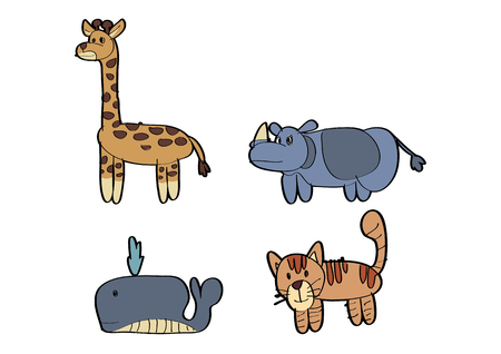 vector  illustration graphic background cartoon animal giraffe rhino Whale cat tiger draw drawing paint