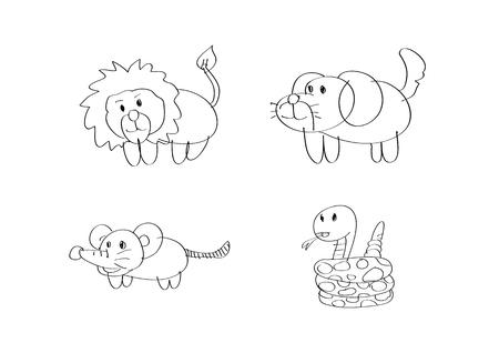 vector illustration graphic background cartoon lion Dog rat Snake animal draw drawing paint Ilustração