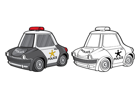 vector illustration graphic background car police cartoon toy transport Emergency draw drawing paint Illustration