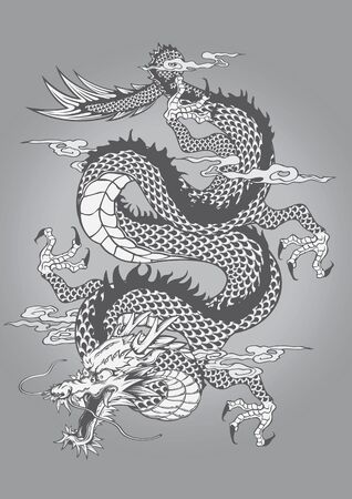 vector illustration graphic background Dragon Capricorn Goat Tattoo Japanese style Chinese style paint animal Legendary creature wing god