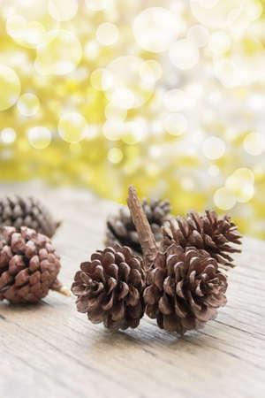 pine cone: Pine Cone Christmas in golden bokeh