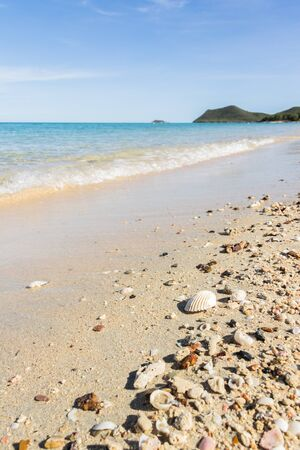 Summer concept with sandy beach, shells Stock Photo