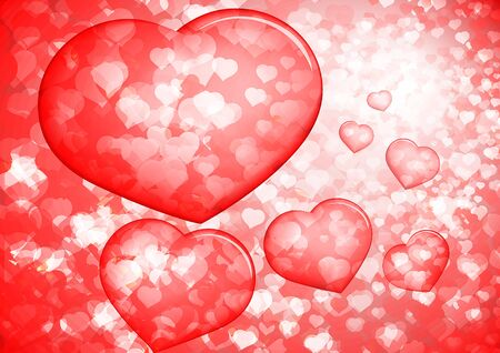 Red Valentines background with bubble hearts, illustration. Stock Photo
