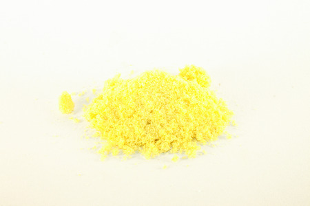 Isolated, yellow aroma salt, on white background