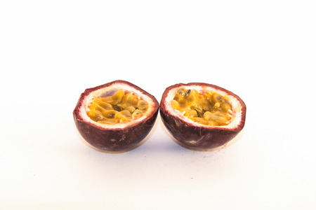Isolated colorful passion fruit, on white background photo
