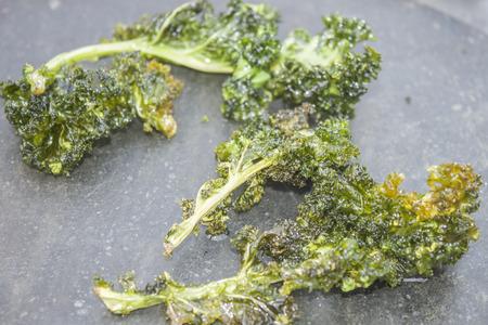 deep fried: Deep fried kale, on a stone plate