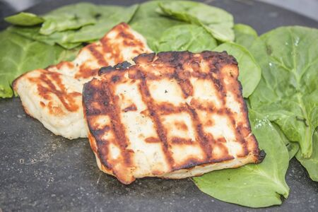 haloumi: Two pieces of grilled halloumi, in front of green spinach
