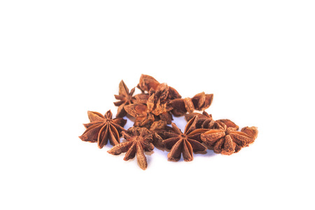 chine: Isolated, brown star anis, on white background Stock Photo