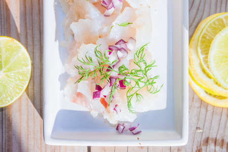 whitefish: Raw spiced white fish, between lemon and lime