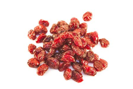 Dried red cranberries, isolated on white background Stock Photo