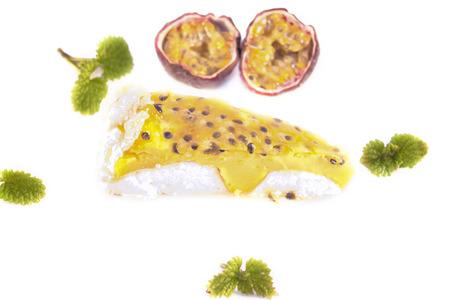 meringue: Passion meringue cake, isolated on white background