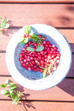 mountain cranberry: Red cowberries, vaccinium vitis-idaea, in a stone bowl, on wooden ground Stock Photo