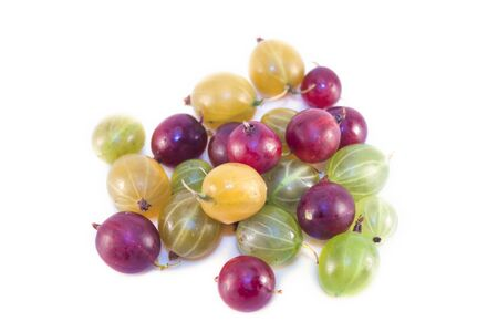 ribes: Red, green and yellow gooseberries, Ribes uva-crispa, isolated on white background Stock Photo