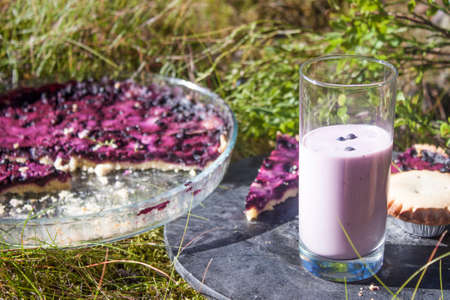 picknick: A glass of Bilberry yoghurt, vaccinium myrtillus, in front of blueberry pies, at a picknick