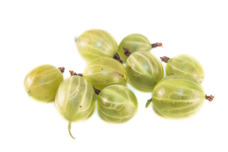 ribes: Green gooseberries, Ribes uva-crispa, isolated on white background