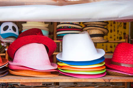 headwear: A lot of colorful hats, at a headwear market