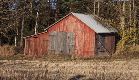 old red barn: Old red barn on the countryside, of Finland