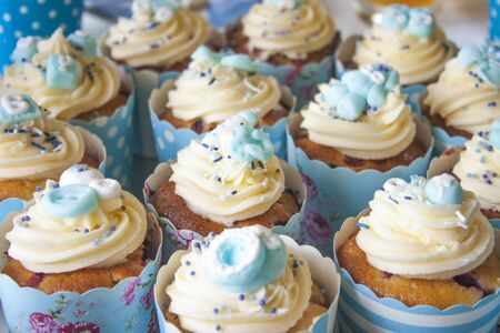It Is A Boy A Lot Of Blue Baby Shower Cupcakes Decorated With