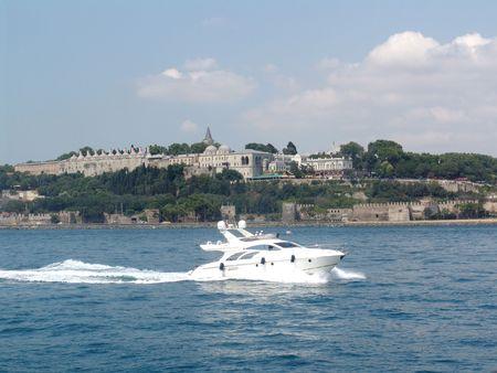 skiff: skiff in Bosporus Stock Photo