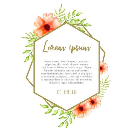 watercolor floral background vector for wedding invitation Banco de Imagens - 124822880