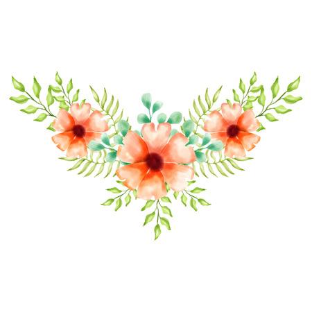 watercolor floral background vector for wedding invitation Banco de Imagens - 124822883