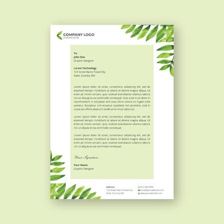 watercolor leaf letterhead design template