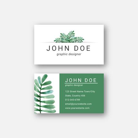 watercolor leaf business card design template