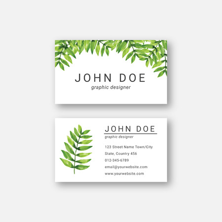 watercolor leaf business card design template Stock Vector - 124713419