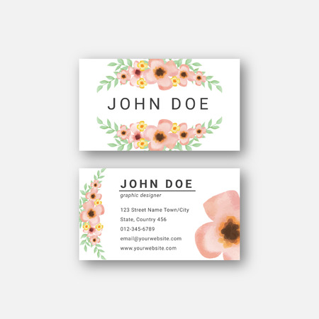 watercolor flower business card design template Stock Vector - 124713420