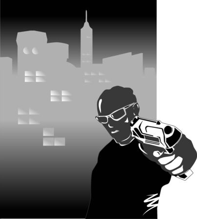 organized crime: The man with a pistol in the street a night city Illustration
