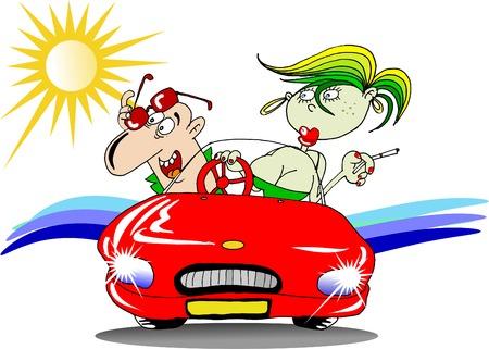 heterosexual: El hombre y la mujer en el coche en una playa