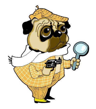 gun dog: The dog-detective trails the criminal Illustration