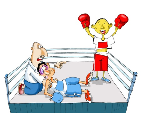 contender: The Chinese boxer sends in a knockout of the contender Illustration