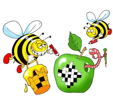 abejas: Abejas resolver un crucigrama escrito en una manzana verde