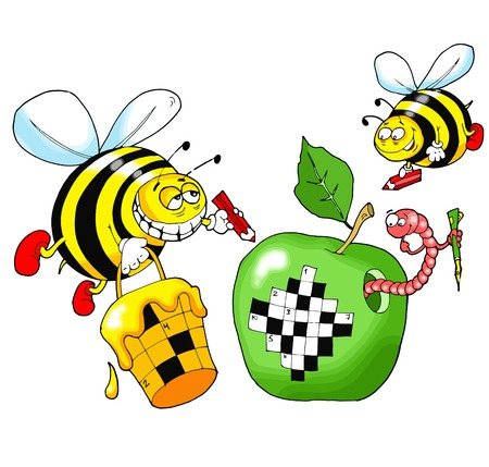 crossword: Bees solve a crossword puzzle written on a green apple